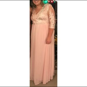 Long Chiffon Light Pink Special Occasion Dress